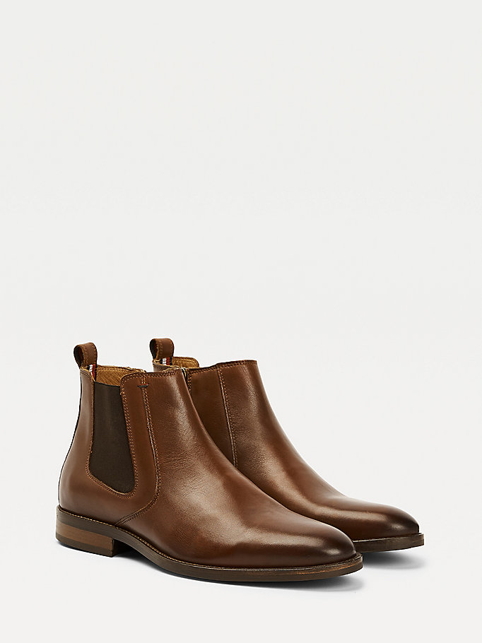 brown essential leather chelsea boots for men tommy hilfiger