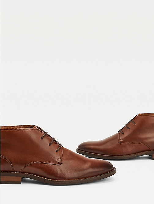TOMMY HILFIGER Leather Lace-Up Boots - WINTER COGNAC - TOMMY HILFIGER Boots - detail image 1