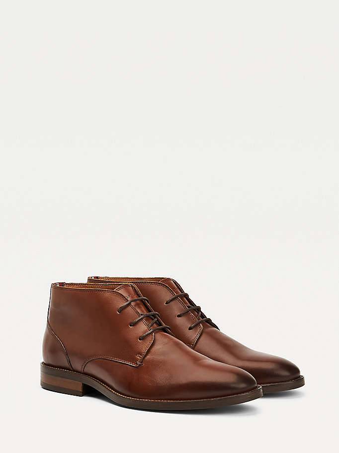 brown essential leather boots for men tommy hilfiger