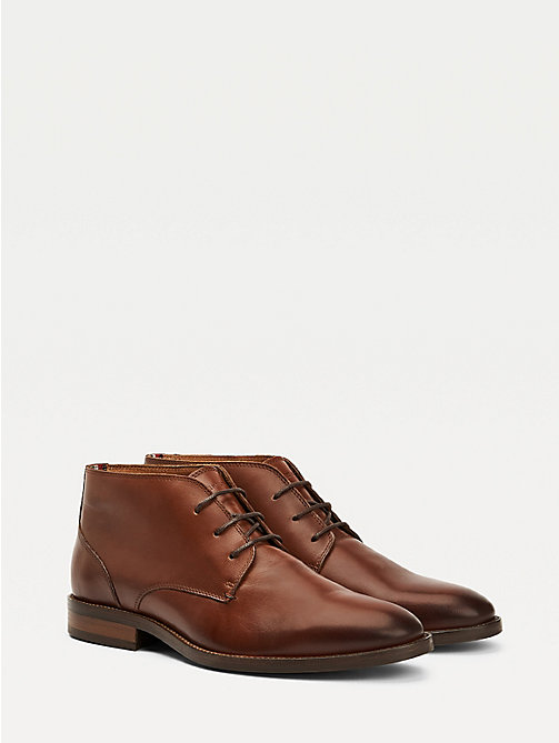 TOMMY HILFIGER Leather Lace-Up Boots - WINTER COGNAC - TOMMY HILFIGER Boots - main image