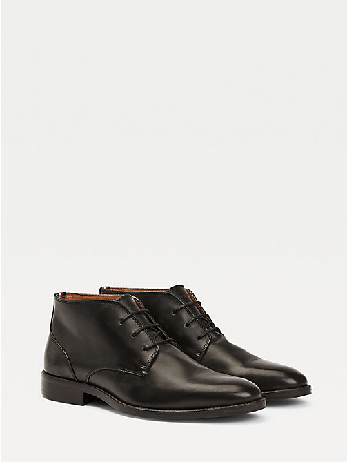 TOMMY HILFIGER Leather Lace-Up Boots - BLACK - TOMMY HILFIGER Shoes - main image