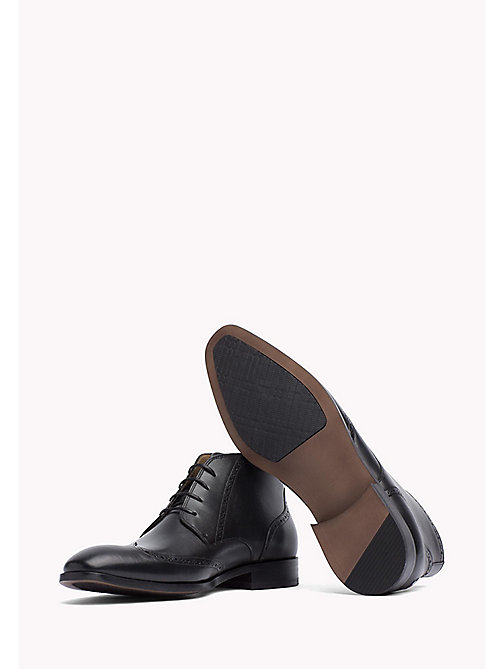 TOMMY HILFIGER Leather Brogue Ankle Boot - BLACK - TOMMY HILFIGER Shoes - detail image 1