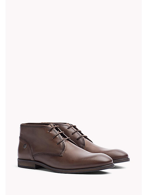 TOMMY JEANS Leather Ankle Boot - WINTER COGNAC - TOMMY JEANS Shoes - main image