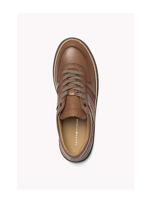 TOMMY HILFIGER Leather Lace-Up Sneaker - COGNAC - TOMMY HILFIGER Shoes - detail image 1