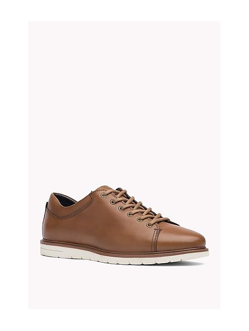 TOMMY HILFIGER Leather Lace-Up Sneaker - COGNAC - TOMMY HILFIGER Shoes - main image