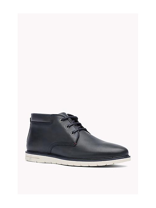 TOMMY HILFIGER Leather Ankle Boot - MIDNIGHT - TOMMY HILFIGER Shoes - main image