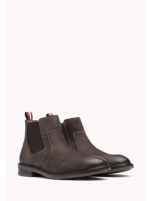 TOMMY HILFIGER Leather Ankle Boot - BROWN - TOMMY HILFIGER Shoes - main image