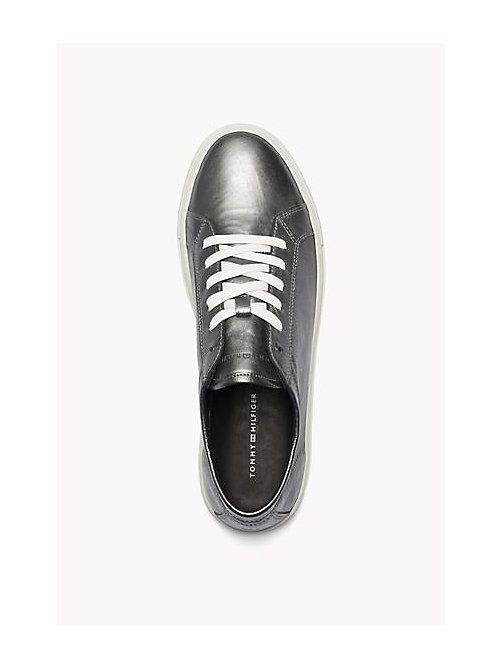 TOMMY HILFIGER Metallic Leather Sneaker - PEWTER - TOMMY HILFIGER Shoes - detail image 1
