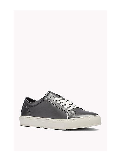 TOMMY HILFIGER Metallic Leather Sneaker - PEWTER - TOMMY HILFIGER Shoes - main image