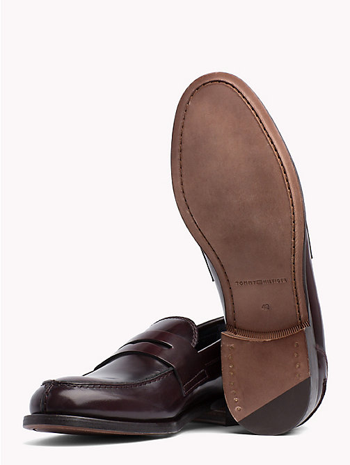 TOMMY HILFIGER Iconic Leather Penny Loafers - BURGUNDY - TOMMY HILFIGER Loafers & Boat Shoes - detail image 1
