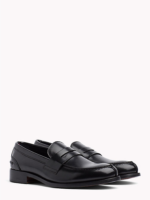 TOMMY HILFIGER Iconic Leather Penny Loafers - BLACK - TOMMY HILFIGER Casual Shoes - main image