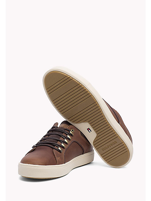 TOMMY HILFIGER Leather and Suede Sneaker - COGNAC - TOMMY HILFIGER Shoes - detail image 1