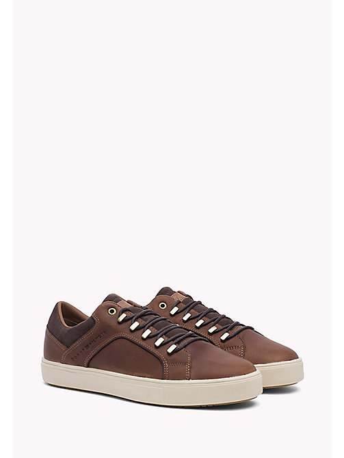 TOMMY HILFIGER Leather and Suede Sneaker - COGNAC - TOMMY HILFIGER Shoes - main image