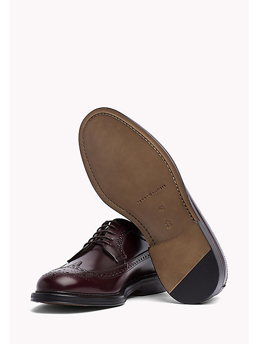 TOMMY HILFIGER Iconic Leather Brogues - BURGUNDY - TOMMY HILFIGER Lace-up Shoes - detail image 1