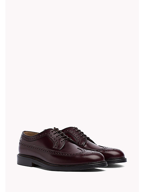 TOMMY HILFIGER Iconic Leather Brogues - BURGUNDY - TOMMY HILFIGER Lace-up Shoes - main image