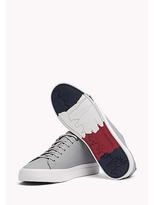 TOMMY HILFIGER Leather Sneaker - LIGHT GREY - TOMMY HILFIGER Best Sellers - detail image 1