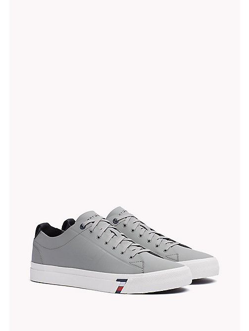 TOMMY HILFIGER Leather Sneaker - LIGHT GREY - TOMMY HILFIGER Best Sellers - main image