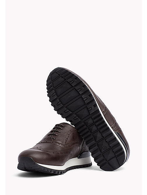 TOMMY HILFIGER Perforated Leather Trainers - COFFEE BEAN - TOMMY HILFIGER Shoes - main image 1