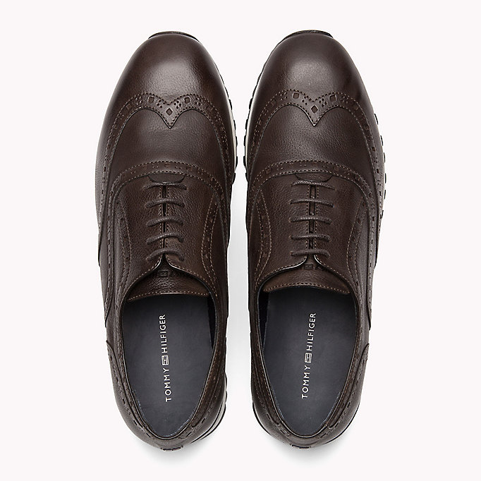 TOMMY HILFIGER Perforated Leather Trainers - MIDNIGHT - TOMMY HILFIGER Men - detail image 3