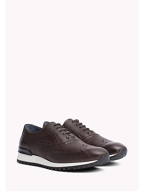 TOMMY HILFIGER Perforated Leather Trainers - COFFEE BEAN - TOMMY HILFIGER Obuwie - main image