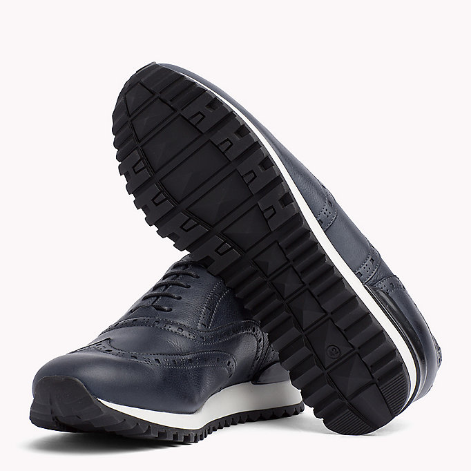 TOMMY HILFIGER Perforated Leather Trainers - BLACK - TOMMY HILFIGER Men - detail image 1