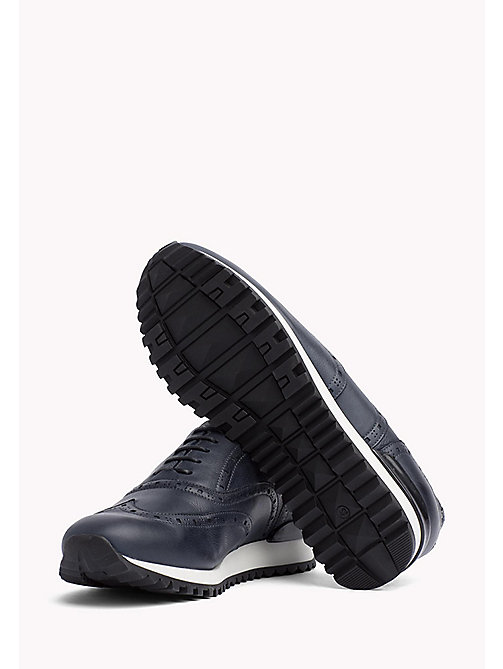 TOMMY HILFIGER Perforated Leather Trainers - MIDNIGHT - TOMMY HILFIGER Sustainable Evolution - main image 1