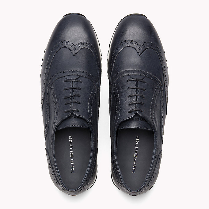 TOMMY HILFIGER Perforated Leather Trainers - BLACK - TOMMY HILFIGER Men - detail image 3