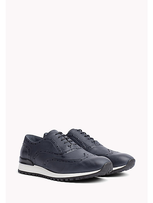 TOMMY HILFIGER Perforated Leather Trainers - MIDNIGHT - TOMMY HILFIGER Sustainable Evolution - main image