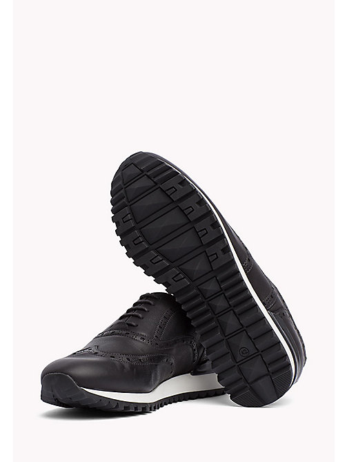Perforated Leather Trainers - BLACK - TOMMY HILFIGER Shoes - detail image 1