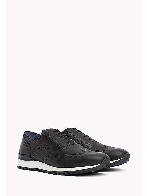 Perforated Leather Trainers - BLACK - TOMMY HILFIGER Shoes - main image