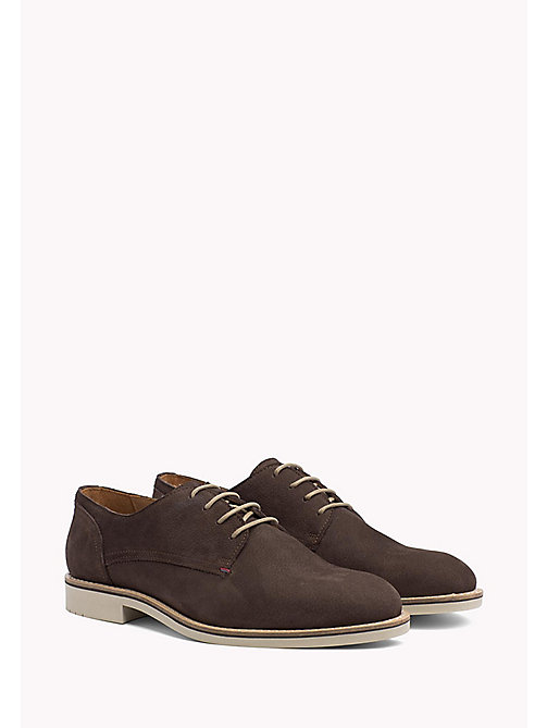 Nubuck Lace-Up Derby Shoes - COFFEE BEAN - TOMMY HILFIGER Shoes - main image