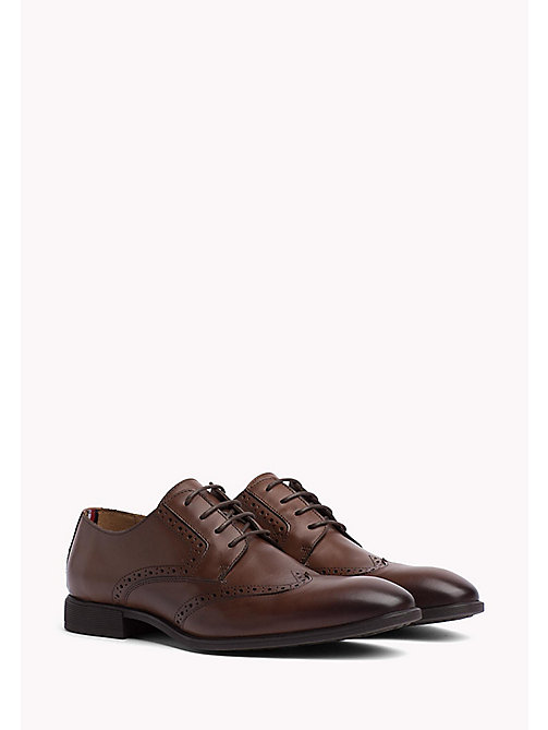 Leather Wingtip Shoes - BRANDY - TOMMY HILFIGER Shoes - main image