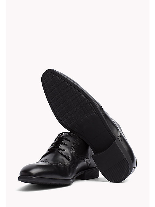TOMMY HILFIGER Leather Wingtip Shoes - BLACK - TOMMY HILFIGER Shoes - detail image 1