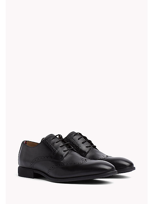 Leather Wingtip Shoes - BLACK - TOMMY HILFIGER Shoes - main image
