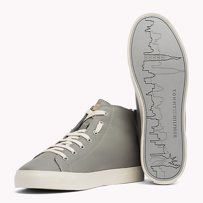 TOMMY HILFIGER Leather Mid Cut Trainers - MIDNIGHT - TOMMY HILFIGER Men - detail image 1