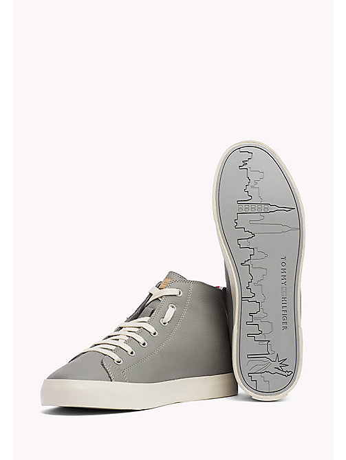 TOMMY HILFIGER Leather Mid Cut Trainers - LIGHT GREY - TOMMY HILFIGER Shoes - detail image 1