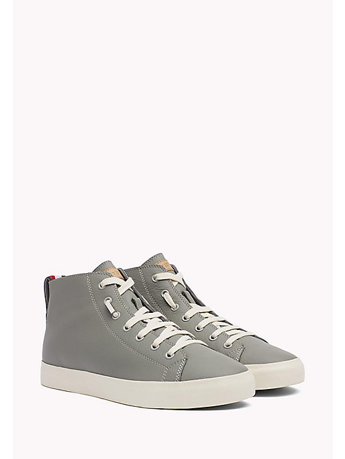 TOMMY HILFIGER Leather Mid Cut Trainers - LIGHT GREY - TOMMY HILFIGER Shoes - main image