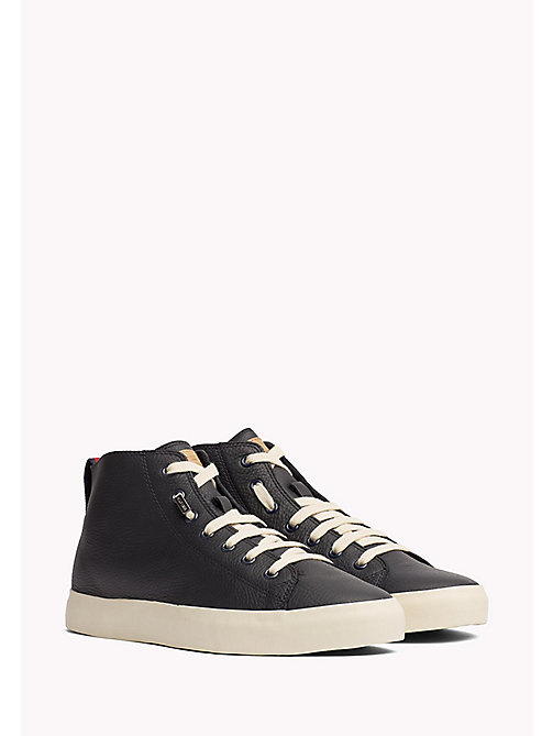 TOMMY HILFIGER Leather Mid Cut Trainers - MIDNIGHT - TOMMY HILFIGER Shoes - main image