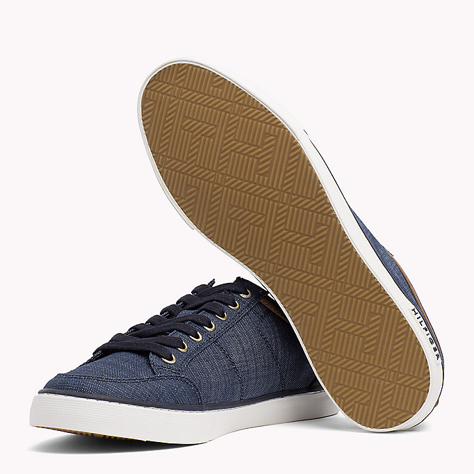 TOMMY HILFIGER Mixed Material Trainers - COBBLESTONE - TOMMY HILFIGER Shoes - detail image 1