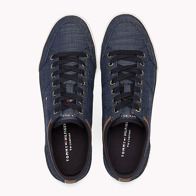 TOMMY HILFIGER Mixed Material Trainers - COBBLESTONE - TOMMY HILFIGER Shoes - detail image 3