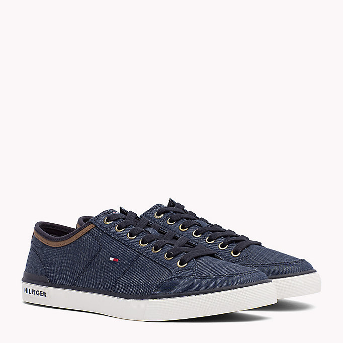 TOMMY HILFIGER Mixed Material Trainers - COBBLESTONE - TOMMY HILFIGER Shoes - main image