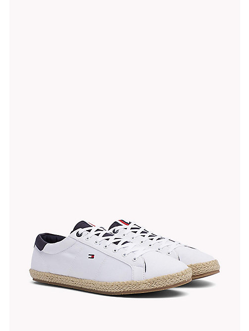 TOMMY HILFIGER Lace-Up Cotton Espadrilles - WHITE - TOMMY HILFIGER MEN - main image