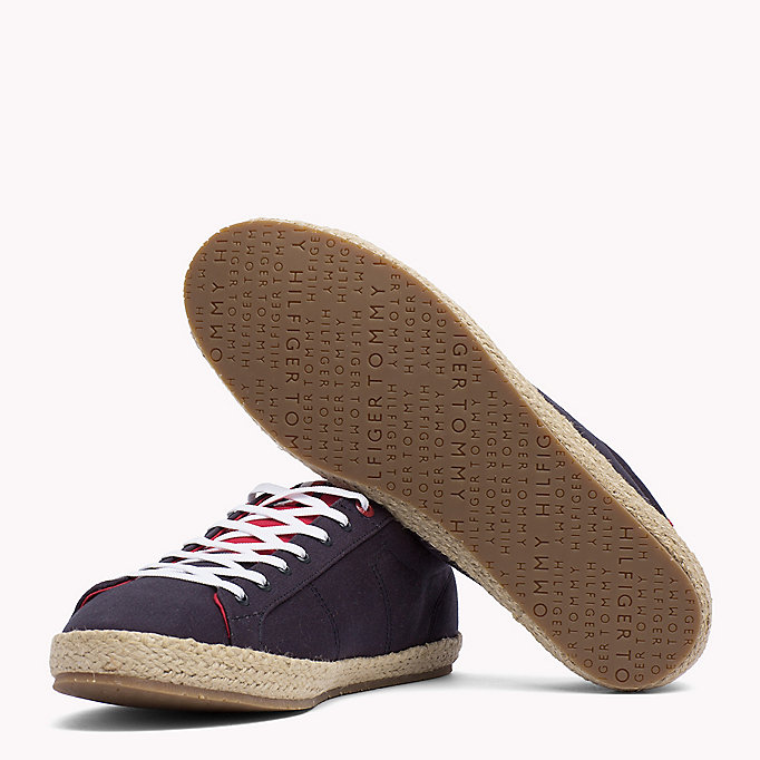 TOMMY HILFIGER Lace-Up Cotton Espadrilles - WHITE - TOMMY HILFIGER Men - detail image 1