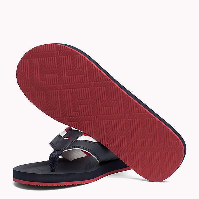 TOMMY HILFIGER Leather Look Flip-Flops - BLACK - TOMMY HILFIGER Men - detail image 1
