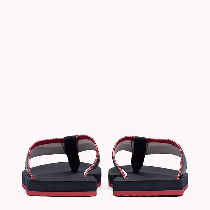TOMMY HILFIGER Leather Look Flip-Flops - BLACK - TOMMY HILFIGER Men - detail image 2