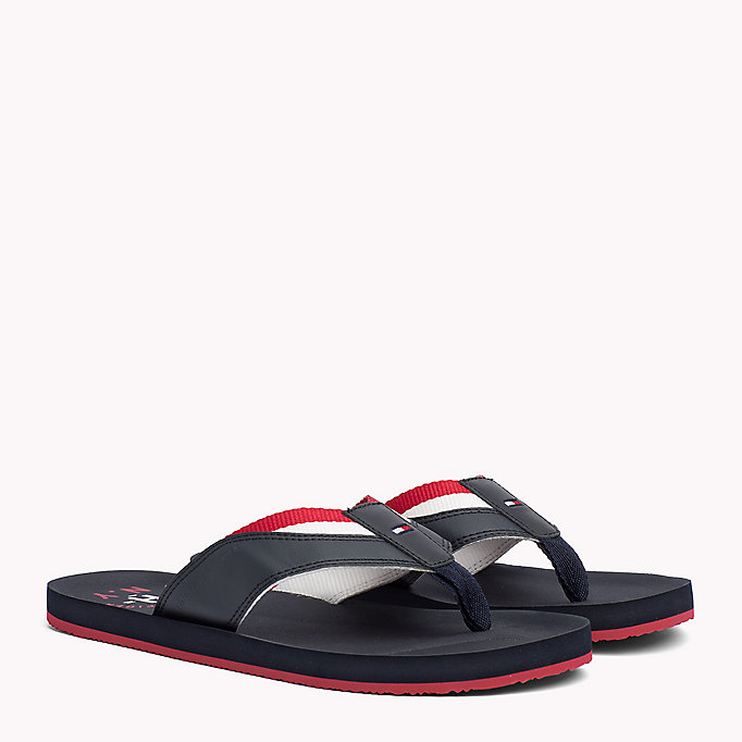 TOMMY HILFIGER Leather Look Flip-Flops - BLACK - TOMMY HILFIGER Men - main image