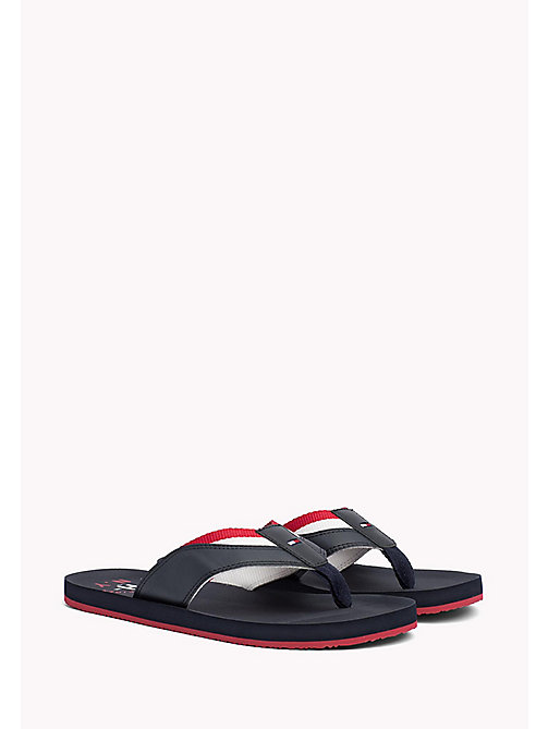 TOMMY HILFIGER Leather Look Flip-Flops - MIDNIGHT - TOMMY HILFIGER Sandals & Flip Flops - main image
