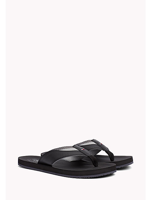TOMMY HILFIGER Leather Look Flip-Flops - BLACK - TOMMY HILFIGER Summer shoes - main image