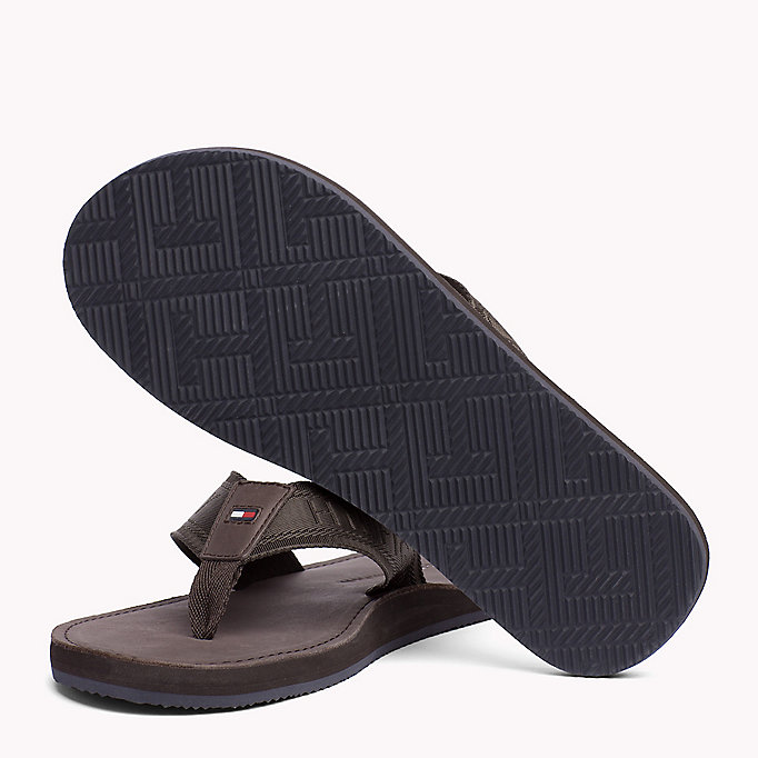TOMMY HILFIGER Leather Flip-Flops - MIDNIGHT - TOMMY HILFIGER Shoes - detail image 1