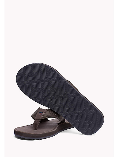 TOMMY HILFIGER Leather Flip-Flops - COFFEEBEAN - TOMMY HILFIGER Shoes - detail image 1